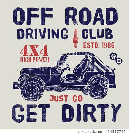 T-shirt design, offroad car driving club vector 34517745