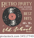 T-shirt design, retro party vinyl record vector 34517749