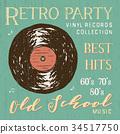 T-shirt design, retro party vinyl record vector 34517750