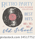 T-shirt design, retro party vinyl record vector 34517752