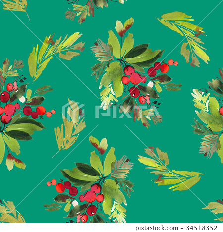 Seamless watercolor Christmas pattern 34518352