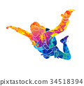 Abstract skydiver paint 34518394