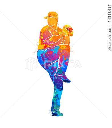 baseball player ball 34518417