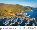 Aerial view of boats and beautiful mountains 34519421
