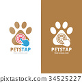 Vector paw and click logo combination. Pet and 34525227
