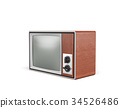 3d rendering of a turned-off retro TV with a big 34526486