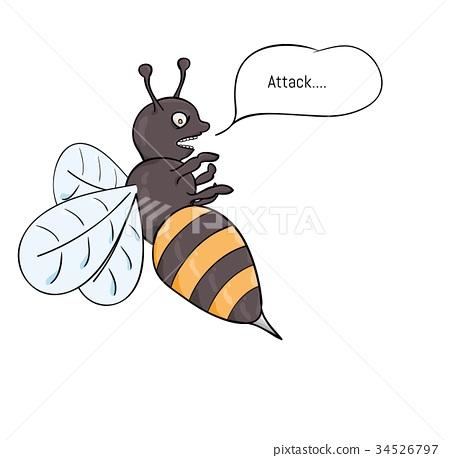 aggressive wasp attacking 34526797