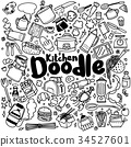 Kitchen Cook Doodle Icons Hand Made 34527601