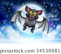 Cartoon Bat and Full Moon Halloween Scene 34530081