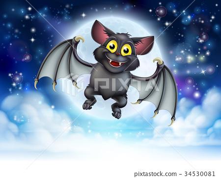 Cartoon Bat and Full Moon Halloween Scene 34530081