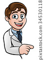 Scientist Cartoon Character Pointing at Sign 34530118
