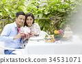 An Asian couple is feeling happy in an anniversary party. 34531071