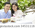 The couple is smilling very happy beside banquet table. 34531116