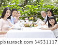 The family is having lunch together at a restaurant 34531117