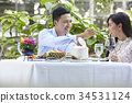 The man is giving food for the woman when having lunch at a restaurant 34531124