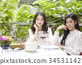 two women are sitting beside a banquet table and looking something 34531142
