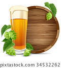 Glass of beer and hops 34532262