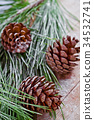 christmas fir tree with pinecones 34532741
