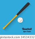 baseball bats and ball icon, vector illustration 34534332