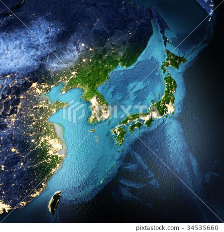 Japan, Korea, China, Taiwan 3d rendering 34535660