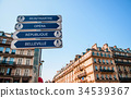 Paris street signs old building in Montmartre area 34539367