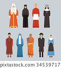 Religion people set, men and women of different 34539717