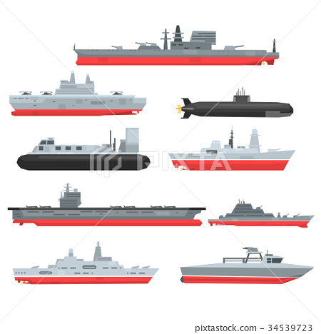 Different types of naval combat ships set 34539723