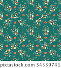 Seamless pattern millefleurs red white flowers 34539741