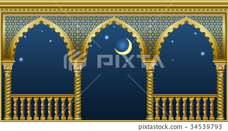 Balcony of the fairytale palace 34539793