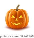 Scary pumpkin halloween lantern realistic vector  34540569