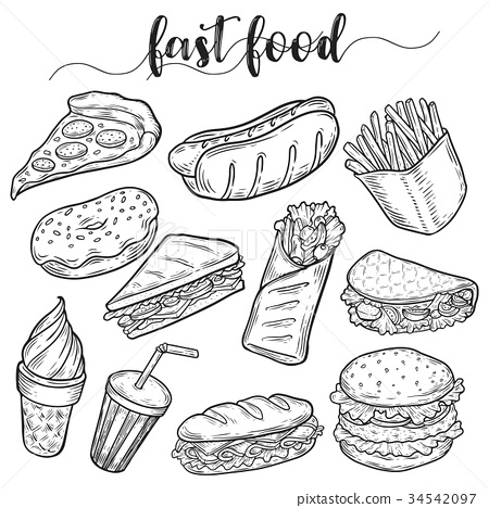 Fast or unhealthy junk food sketches of hot dog 34542097