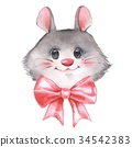 Cute watercolor mouse with bow 34542383