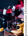 two glasses of red wine 34543400