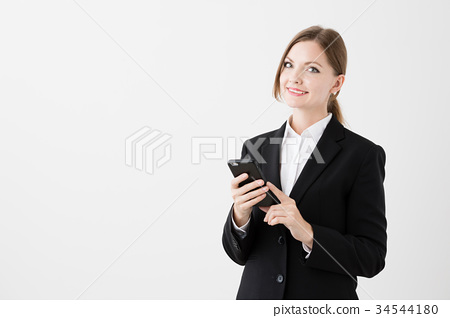 Foreign business woman white background image 34544180