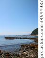 blue sky, seashore, rocky shore 34544987