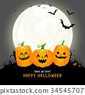 Cute cartoon pumpkin character in the moonlight.  34545707