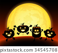 Cute cartoon pumpkin character in the moonlight.  34545708