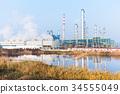 oil refinery plant near river 34555049