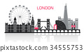 silhouette of london city 34555753