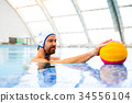 Water polo player in a swimming pool. 34556104