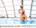 Water polo player in a swimming pool. 34556114