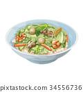一碗米飯之上配有雜碎風格混合物 食物 食品 34556736