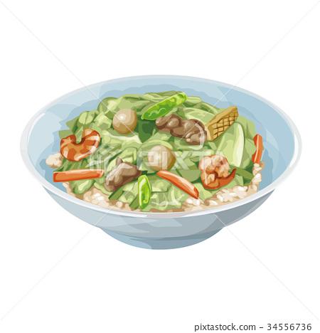 一碗米饭之上配有杂碎风格混合物 食物 食品 34556736