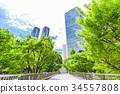 辦公區和綠色的高層建築 34557808