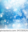 Winter Bokeh Background with Blurred Snowflakes 34558926
