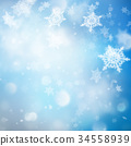Christmas Background with Lights and Snowflakes 34558939