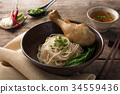 Asian noodles, bowl of noodles with vegetables and 34559436