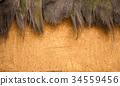 Old mud plaster background texture straw fiber 34559456
