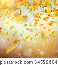 Autumn Rainy colorful blur bokeh background. EPS 34559604