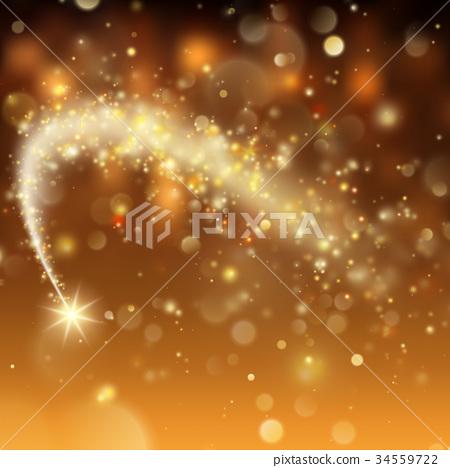 Stardust trail, sparkling comet on bokeh 34559722